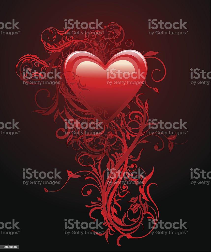 Rosso Cuore Con Fiori E Decorazioni Su Sfondo Nero Immagini