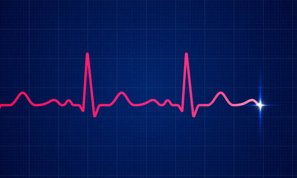 illustrazioni stock, clip art, cartoni animati e icone di tendenza di red heart beat pulse electrocardiogram rhythm on blue cardio chart monitor background. vector healthcare ecg or ekg medical life concept for cardiology or medical resuscitation illustration - elettrocardiogramma