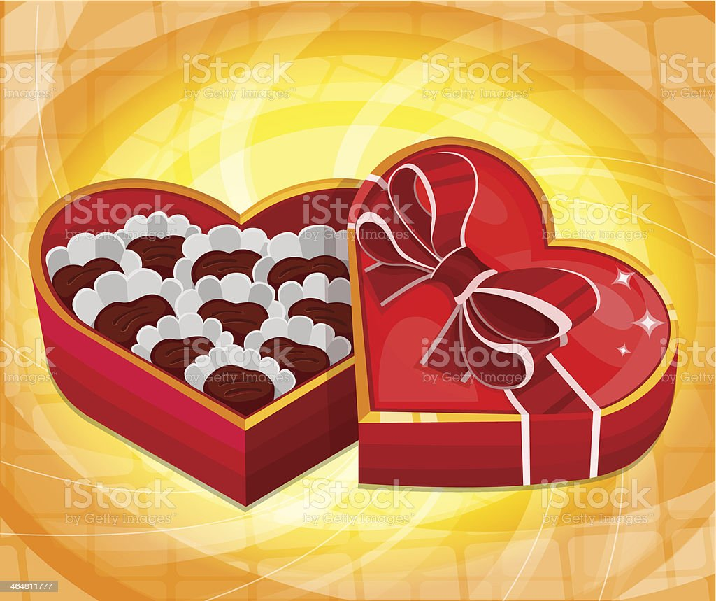 Red heart candy box vector art illustration