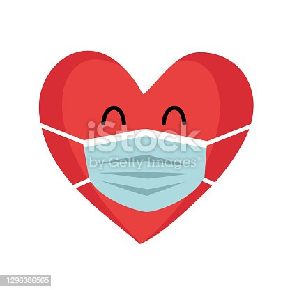 istock Red heart cartoon wearing protective mask. Love in covid19 Coronavirus quarantine pandemic times. Design for Valentine's Day greeting card, poster, banner. 1296086565