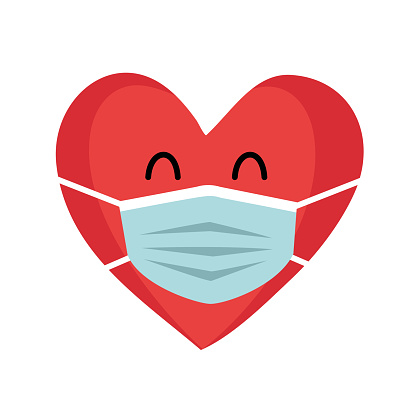 Red heart cartoon wearing protective mask. Love in covid19 Coronavirus quarantine pandemic times. Design for Valentine's Day greeting card, poster, banner.