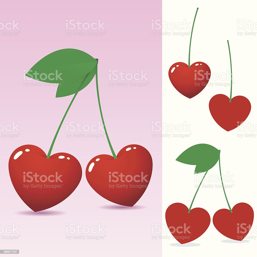 Red heart cherry - vector royalty-free red heart cherry vector stock vector art & more images of cartoon