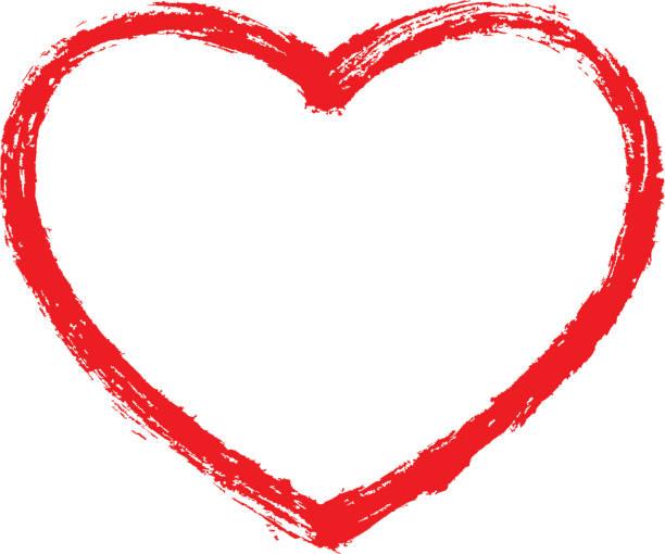 Rotes Herz Kontur Skizze Pinselstrich – Vektorgrafik