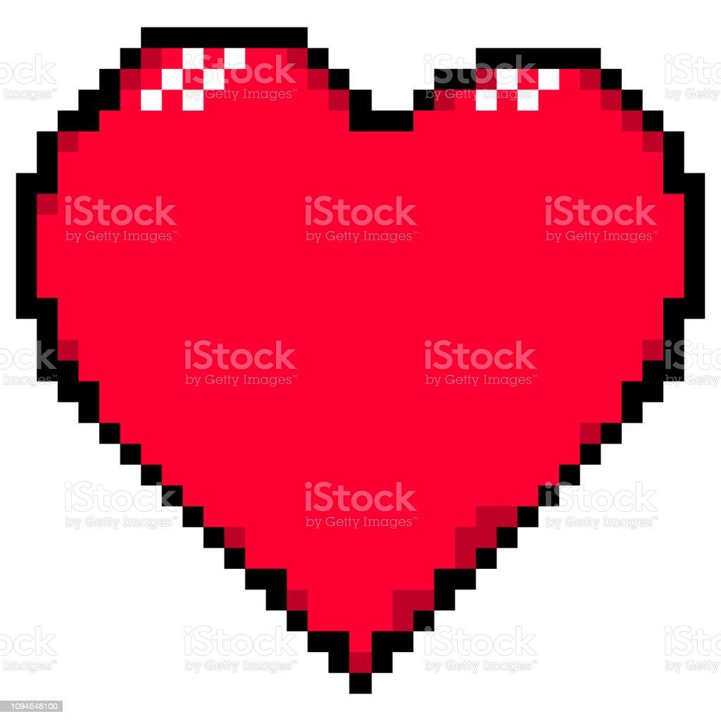 Rotes Herz Im Stil Von Pixelart Für Fest Von Sankt Valentin Tag Grußkarte Erstellt Stock Vektor Art Und Mehr Bilder Von Abzeichen