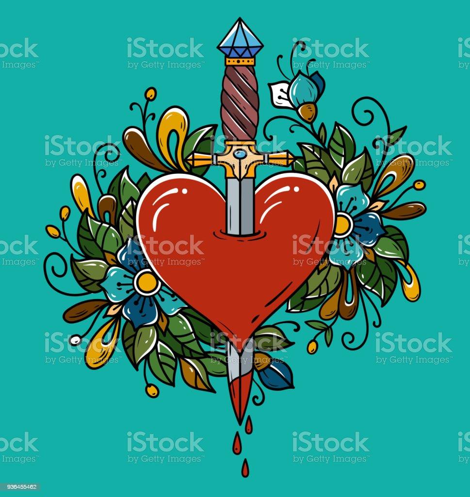 Coração vermelho decorado com flores perfuradas com punhal. Tatuagem punhal perfurando o coração com sangue a pingar. Coração sangrando. - ilustração de arte em vetor