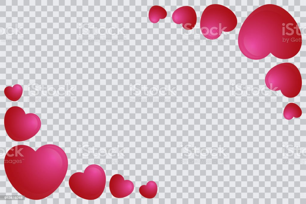 Red Heart Frame Template Isolated In Transparent Background Heart ...