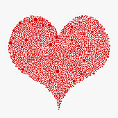 Red heart from bubbles dots circles. Frame on white background. Random dots. Heart element for design on Valentine day. Love, couple, relationship. Love, health concept.