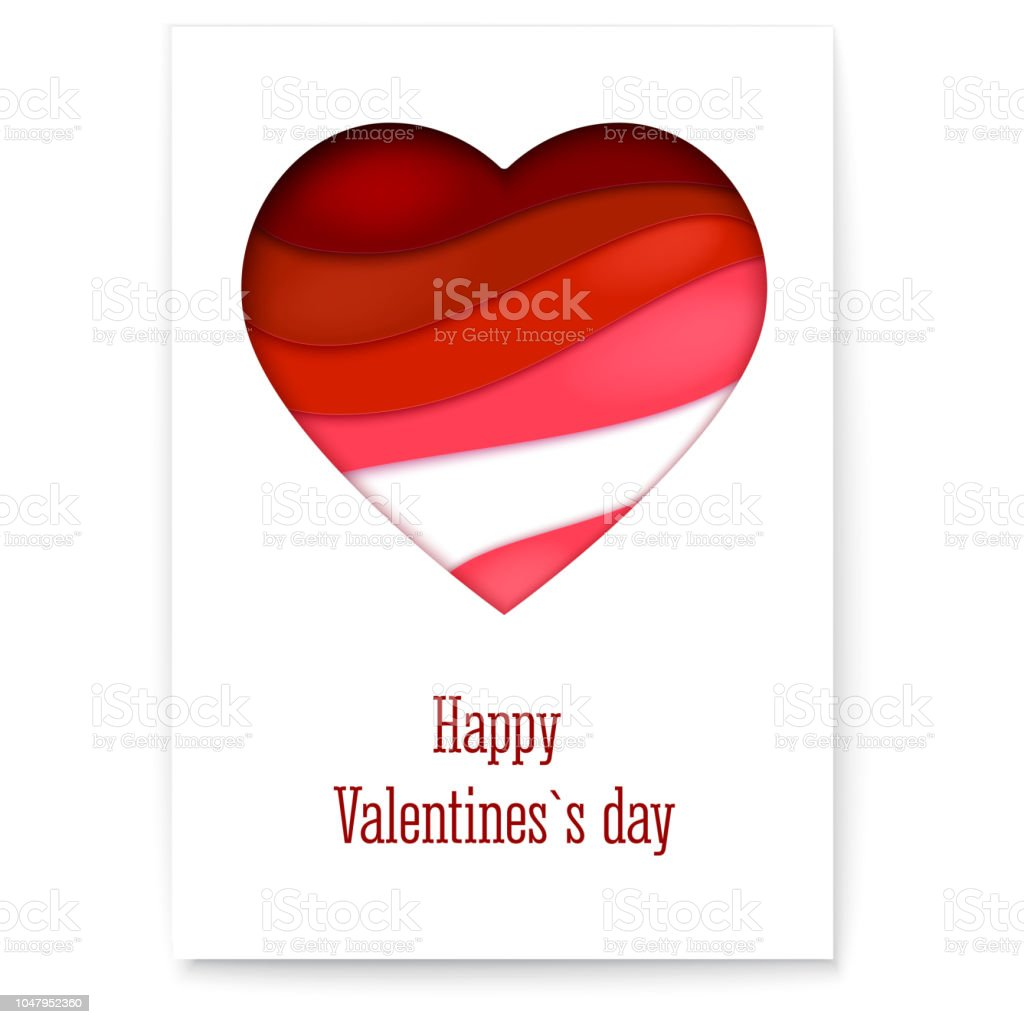 Red heart from paper with cut out layers simple greeting card for red heart from paper with cut out layers simple greeting card for valentines days m4hsunfo
