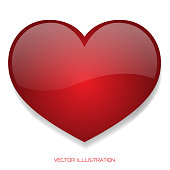 Red heart glossy 3D on isolated background vector illustration.