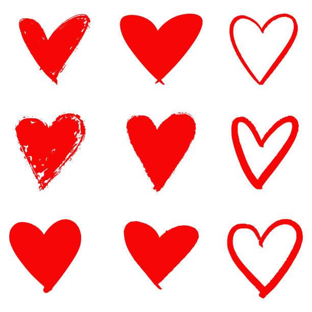 illustrations, cliparts, dessins animés et icônes de ensemble d'icônes dessinés à la main de coeur rouge. - coeur