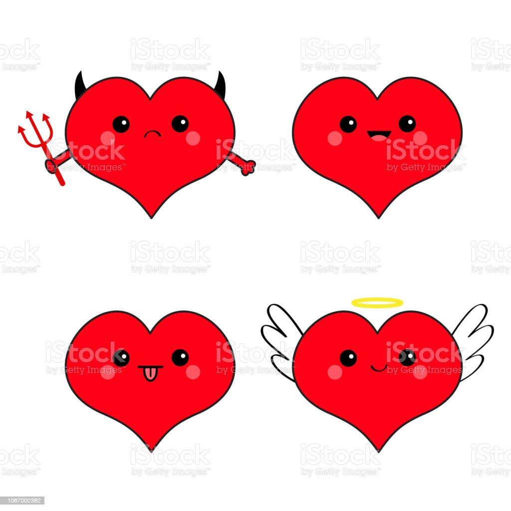Coeur Rouge Tête Visage émotion Jeu Dicônes Diable Ange Mal
