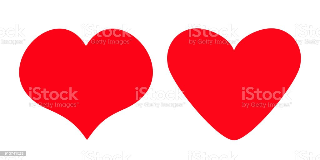 Red Heart Icon Set Different Shape Happy Valentines Day Sign Symbol