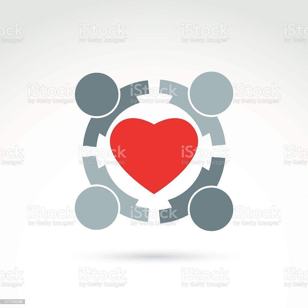 Red heart icon symbolizing social health concept vector art illustration