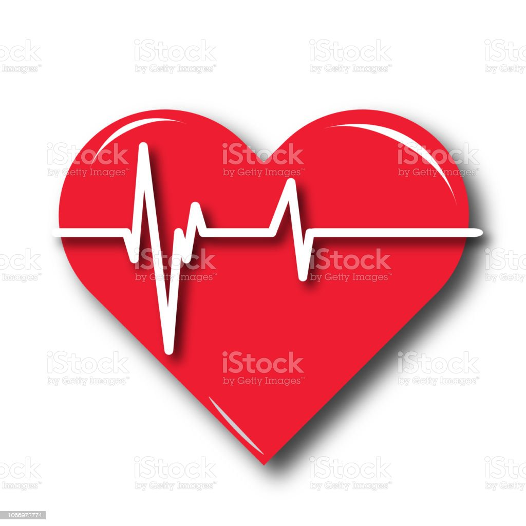 Red heart icon with sign heartbeat. Red heart icon with sign heartbeat. Vector illustration. Heart sign in flat design. Analyzing stock vector