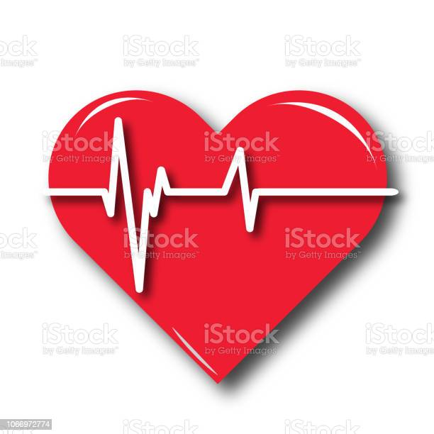 Red Heart Icon With Sign Heartbeat Stock Illustration - Download Image Now