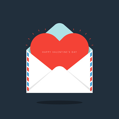 Red heart in envelope Valentine's day concept flat design