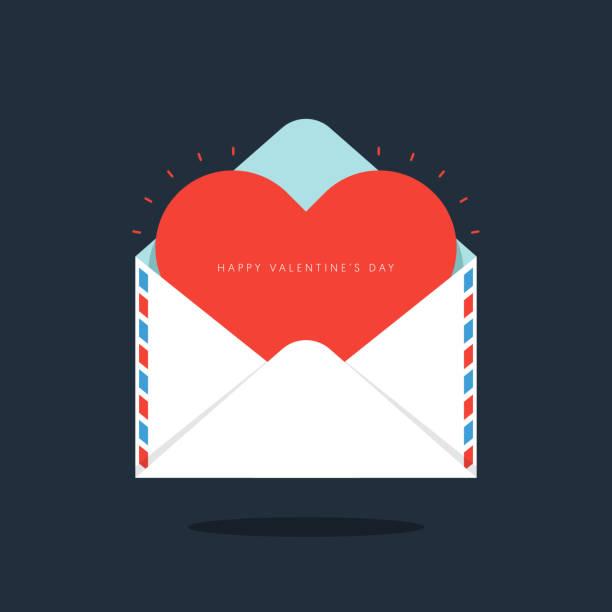 czerwone serce w kopercie walentynki koncepcja płaski projekt - kartka na walentynki stock illustrations