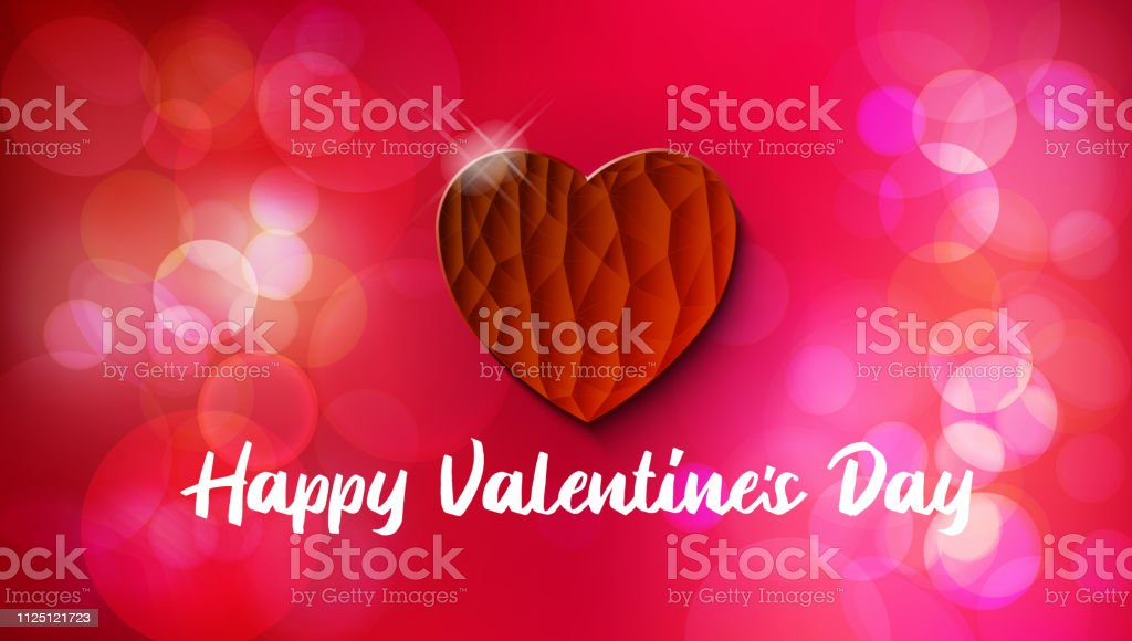 Red Heart in textured style with bokeh background