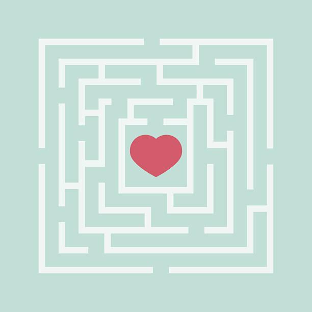 red heart in the maze. - labyrinthgarten stock-grafiken, -clipart, -cartoons und -symbole