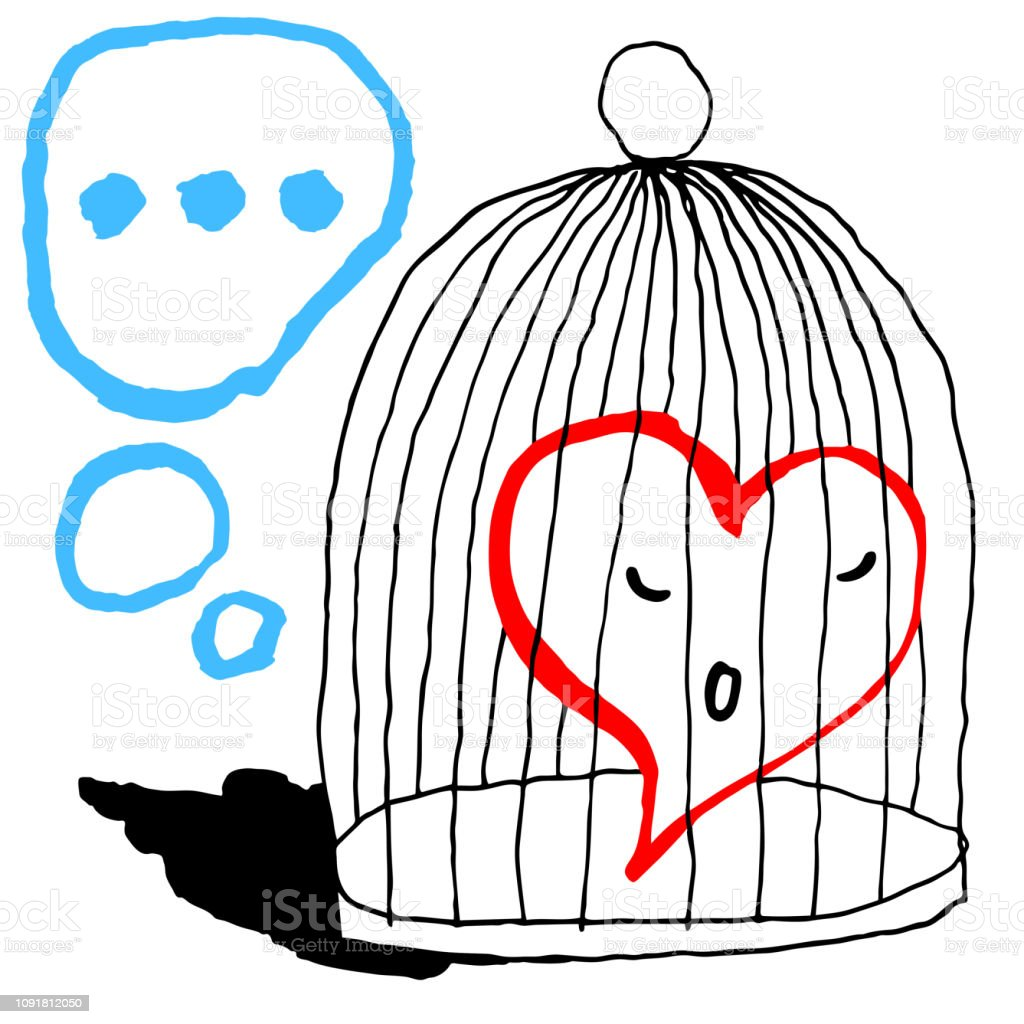Red heart is sad in the cage for the bird isolated on white background. Greeting card for the holiday feast of Saint Valentine Day. Sketch drawing was drawn with the brush and ink. vector art illustration