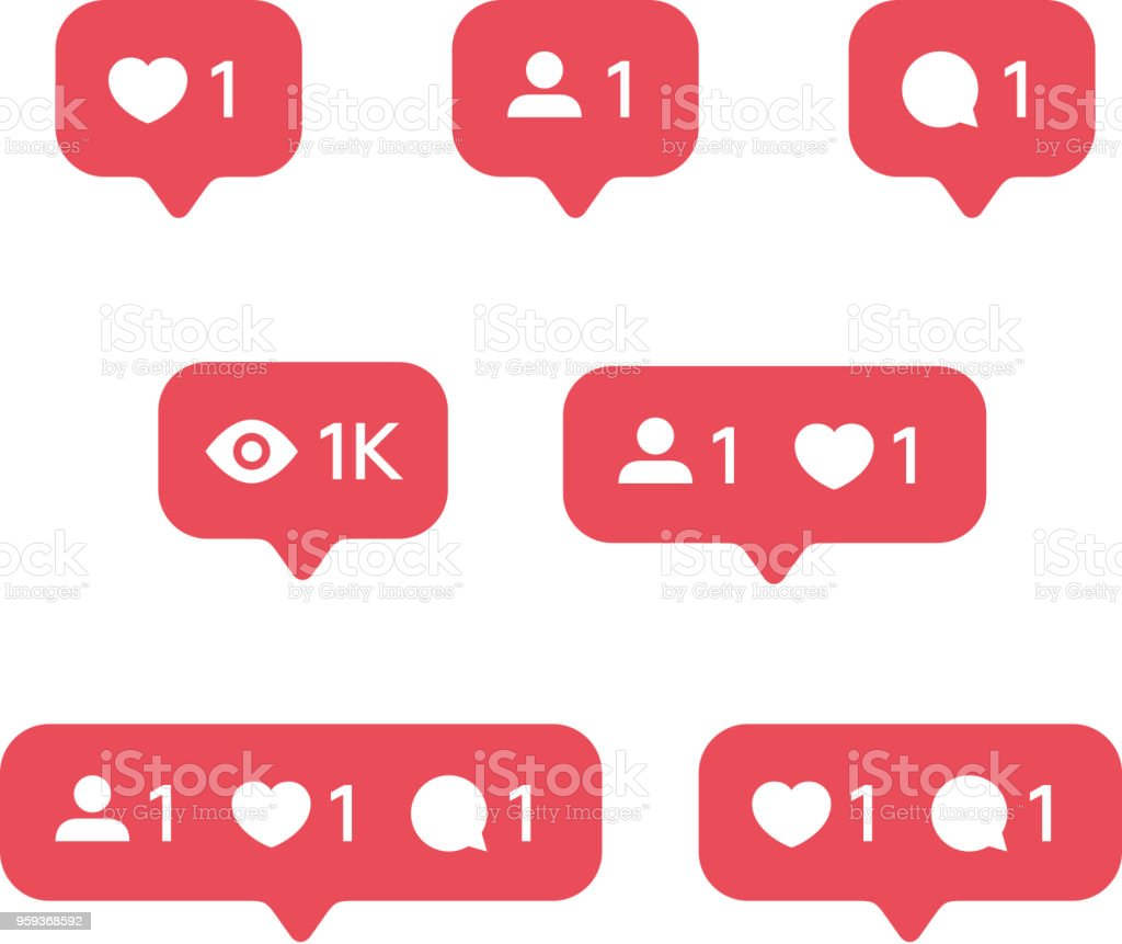 Red Heart like, new message bubble, friend request quantity number notifications icons templates. Social network app icons. - illustrazione arte vettoriale