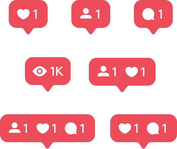 red heart like, new message bubble, friend request quantity number notifications icons templates. social network app icons. - wspólnie korzystać stock illustrations