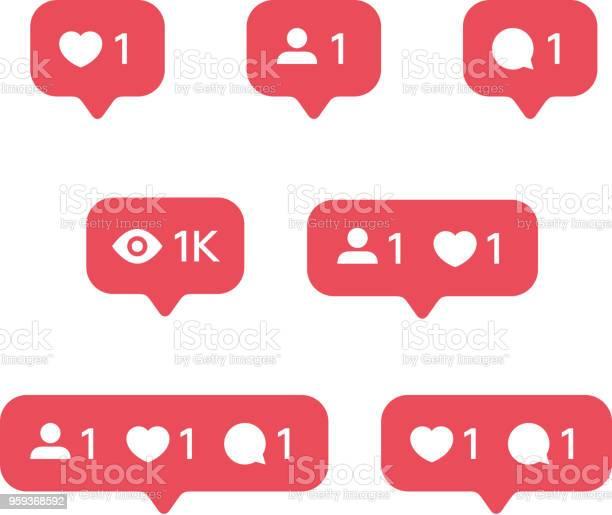 Rött Hjärta Som Nya Meddelandebubbla Vän Begäran Kvantitet Antal Anmälningar Ikoner Mallar Sociala Nätverk Appikoner-vektorgrafik och fler bilder på Använda en dator