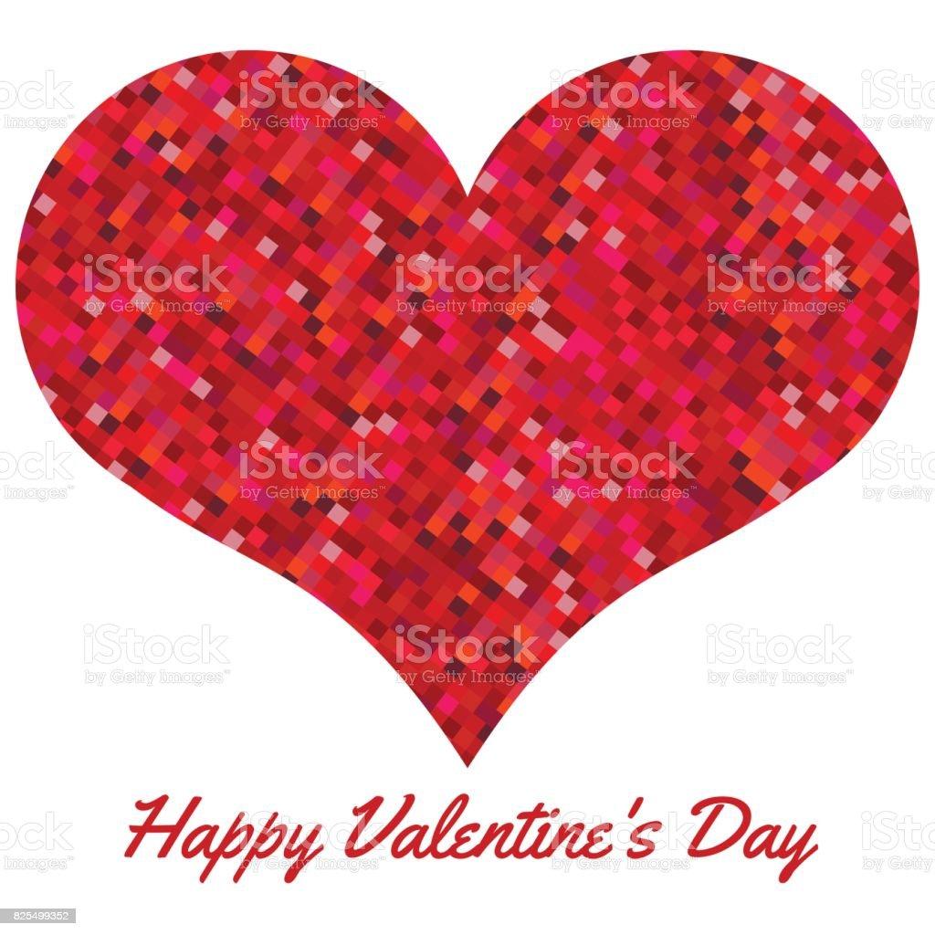 Cœur Rouge Composé De Pixels Valentin Fond Avec Cœur Sur