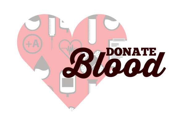 red heart medical icons donate blood vector art illustration