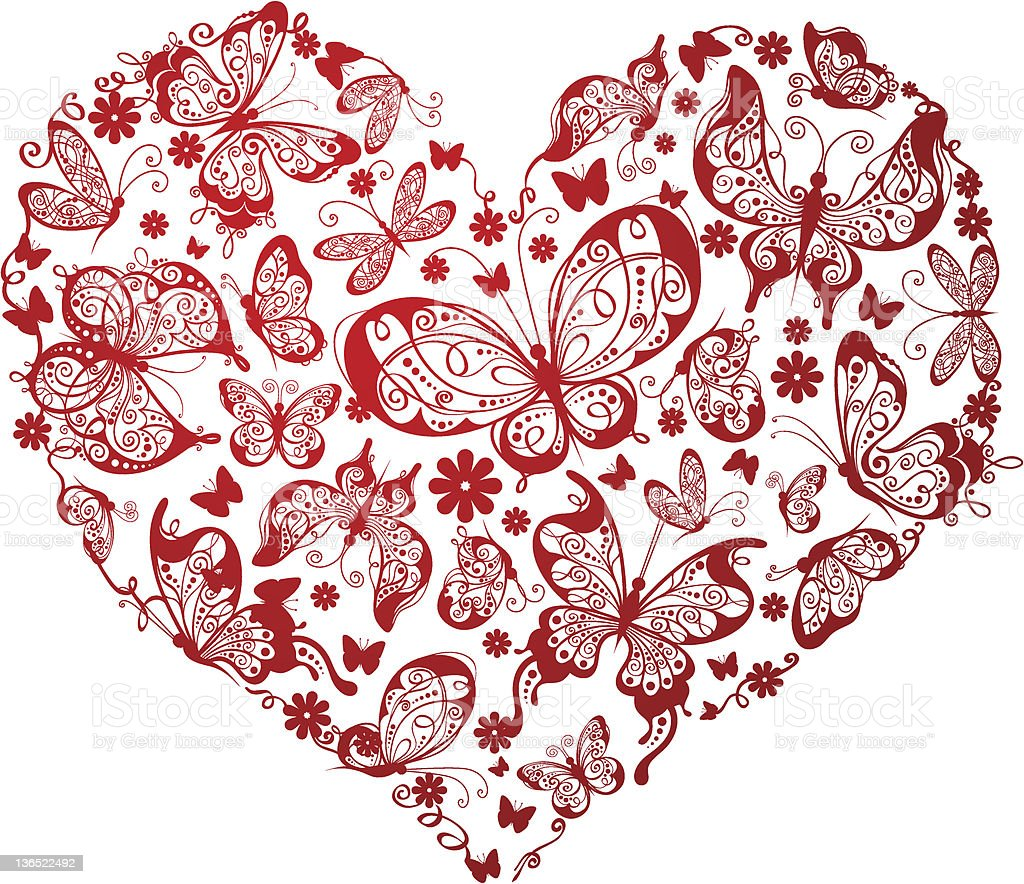 Red heart of butterflies royalty-free stock vector art