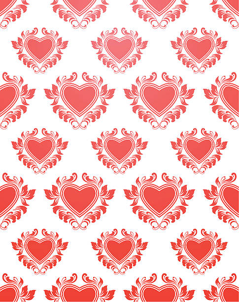 Red Heart Pattern vector art illustration