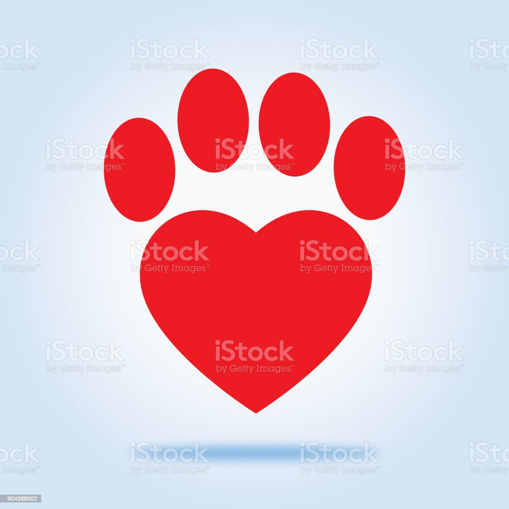 Red Heart Paw icon vector art illustration