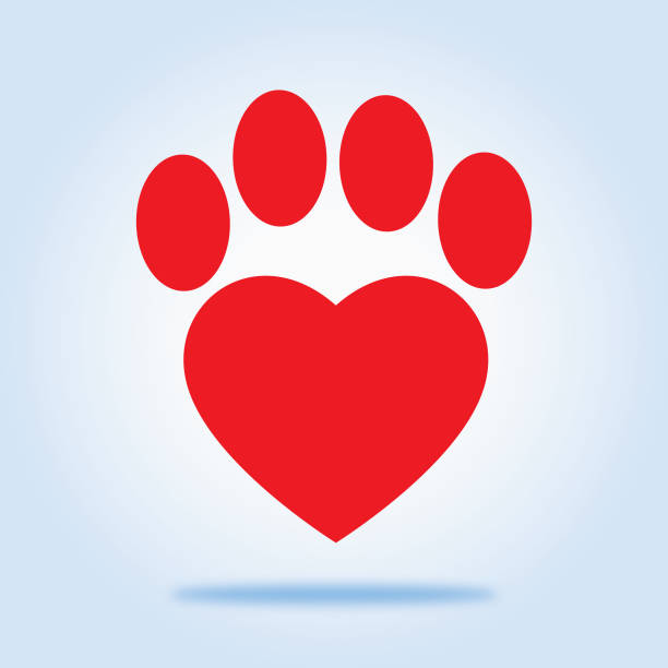 red heart paw icon - pets stock illustrations, clip art, cartoons, & icons