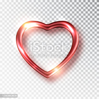 istock Red Heart realistic. Vector decoration 3d object. Romantic Symbol of Love Heart isolated. Vector illustration. 1250950828