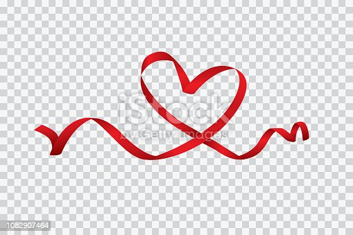istock Red heart ribbon isolated on transparent background, vector art and illustration 1082907464