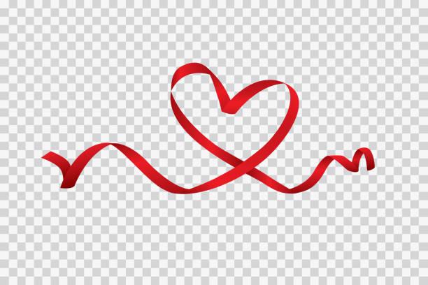 stockillustraties, clipart, cartoons en iconen met rood hart lint geïsoleerd op een transparante achtergrond, vector kunst en illustratie - romantiek begrippen