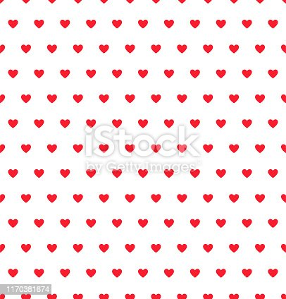 Red Heart seamless pattern on white background. Valentine celebration design. Love sign. Abstract concept. EPS 10