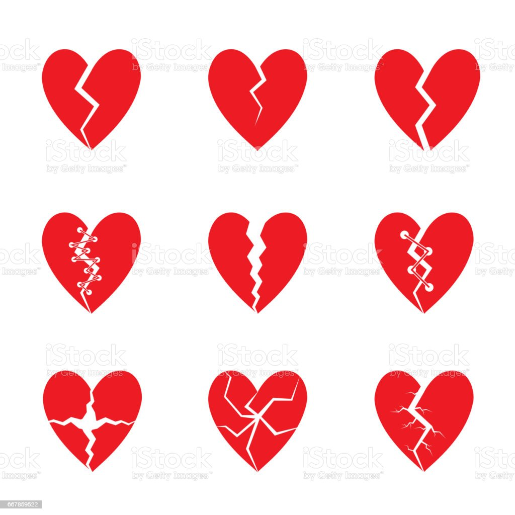 Red heart set vector art illustration