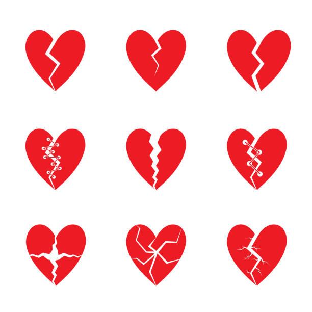 stockillustraties, clipart, cartoons en iconen met red heart set - liefdesverdriet
