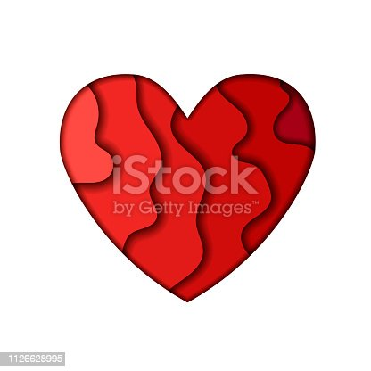 istock Red heart shape in paper cut style. Valentines day concept. Vector illustration isolated on white background. 1126628995