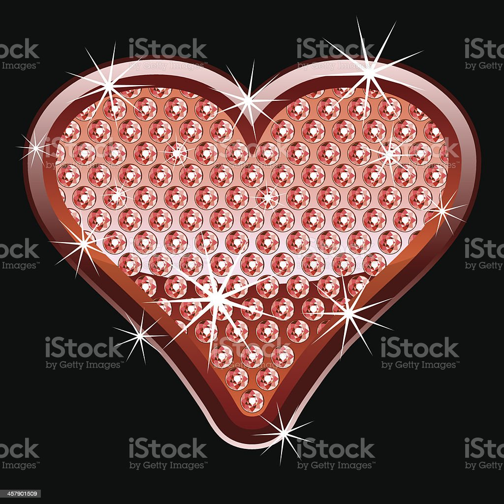 Red heart shape with diamonds royalty-free stock vector art