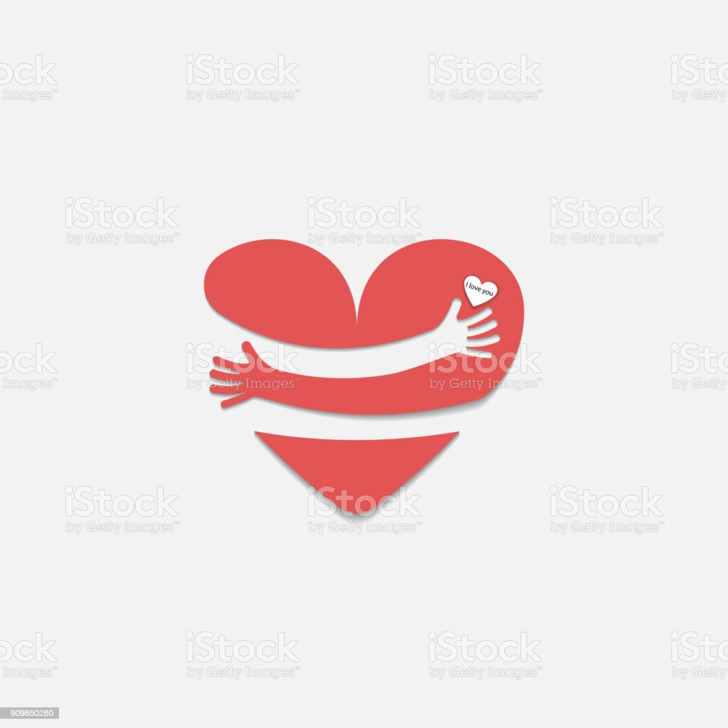 Red heart shape with hand embrace.Hug yourself logo.Love yourself logo.Love and Heart Care icon.Happy valentines day concept.Healthcare & medical concept.Vector illustration vector art illustration