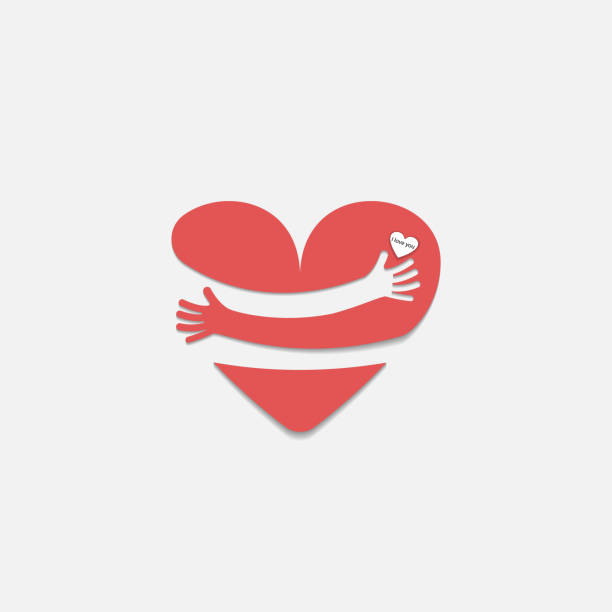 Red heart shape with hand embrace.Hug yourself logo.Love yourself logo.Love and Heart Care icon.Happy valentines day concept.Healthcare & medical concept.Vector illustration Red heart shape with hand embrace.Hug yourself logo.Love yourself logo.Love and Heart Care icon.Happy valentines day concept.Healthcare & medical concept.Vector illustration hug stock illustrations