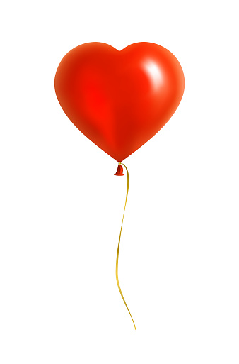 Red Heart Shaped Balloon with Yellow Ribbon