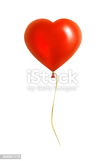 istock Red Heart Shaped Balloon with Yellow Ribbon 946981576
