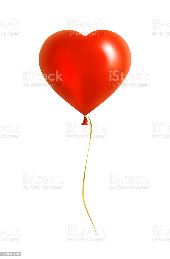Red Heart Shaped Balloon with Yellow Ribbon vector art illustration