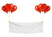 Beautiful vector red heart shaped balloons with white vinyl banner. Vector illustration EPS10.