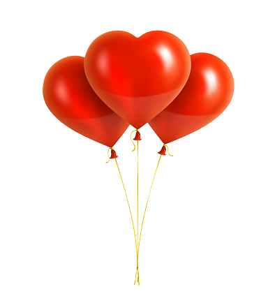 Red Heart Shaped Balloons with Yellow Ribbons