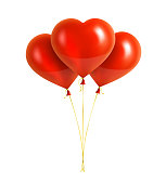 Vector red heart shaped balloons with yellow ribbons. Bunch of balloons. Vector illustration EPS10.