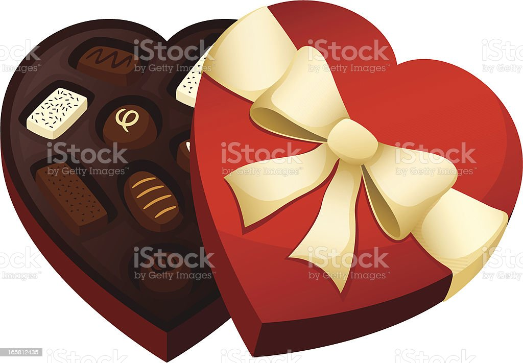 A red, heart shaped chocolate box vector art illustration